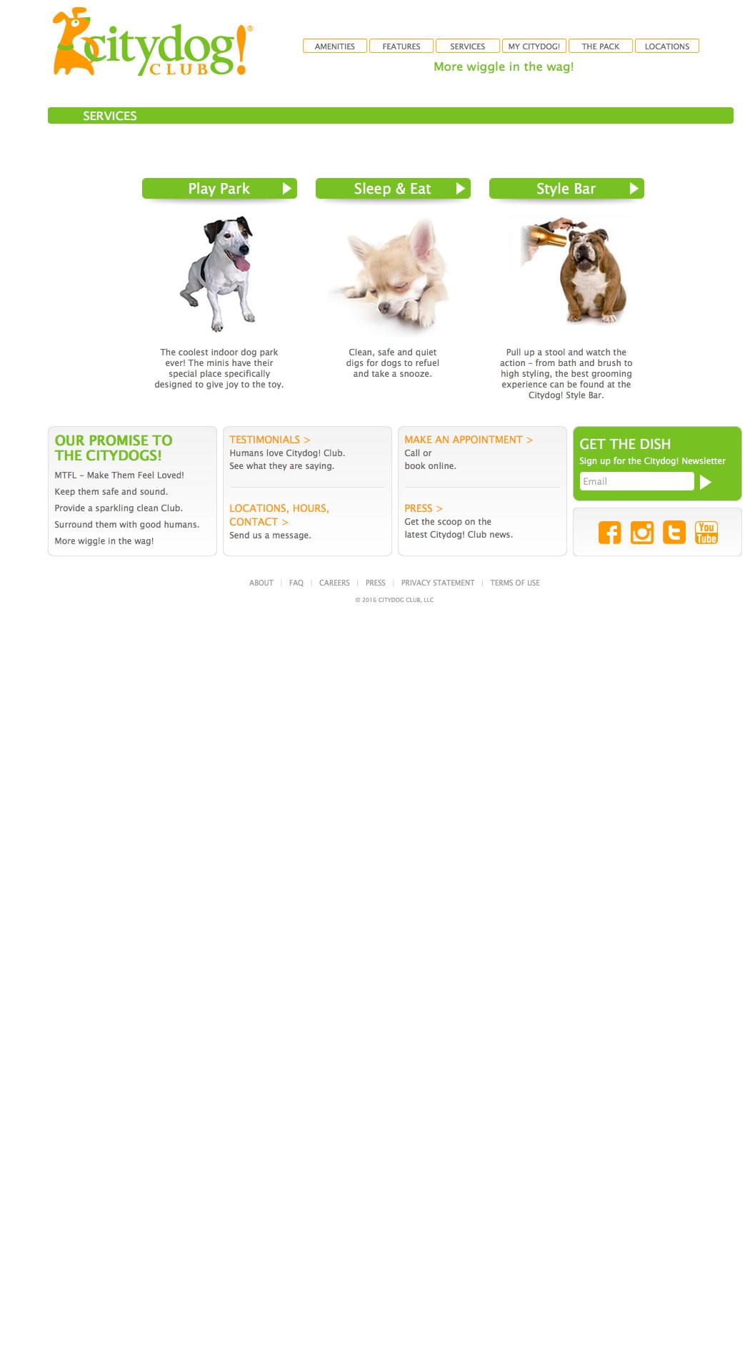 Citydog! Club Services Page