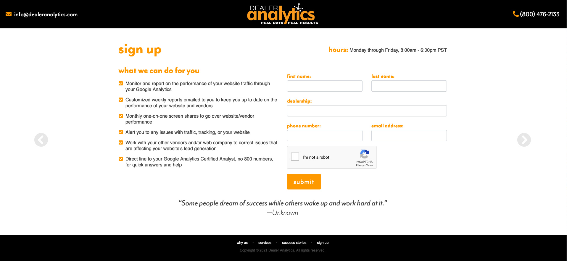 Contact Us Page for Dealer Analytics