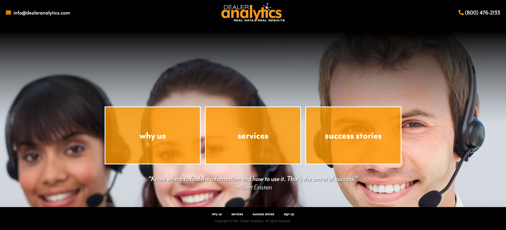 Home page for Dealer Analytics