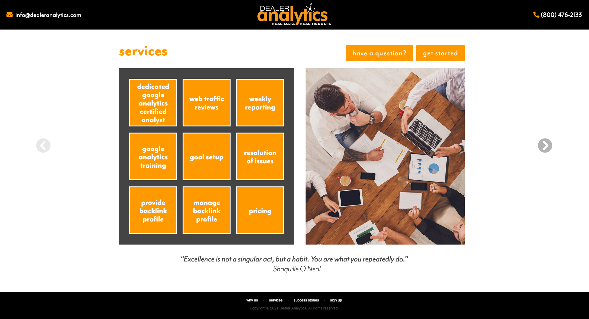 Services Page for Dealer Analytics