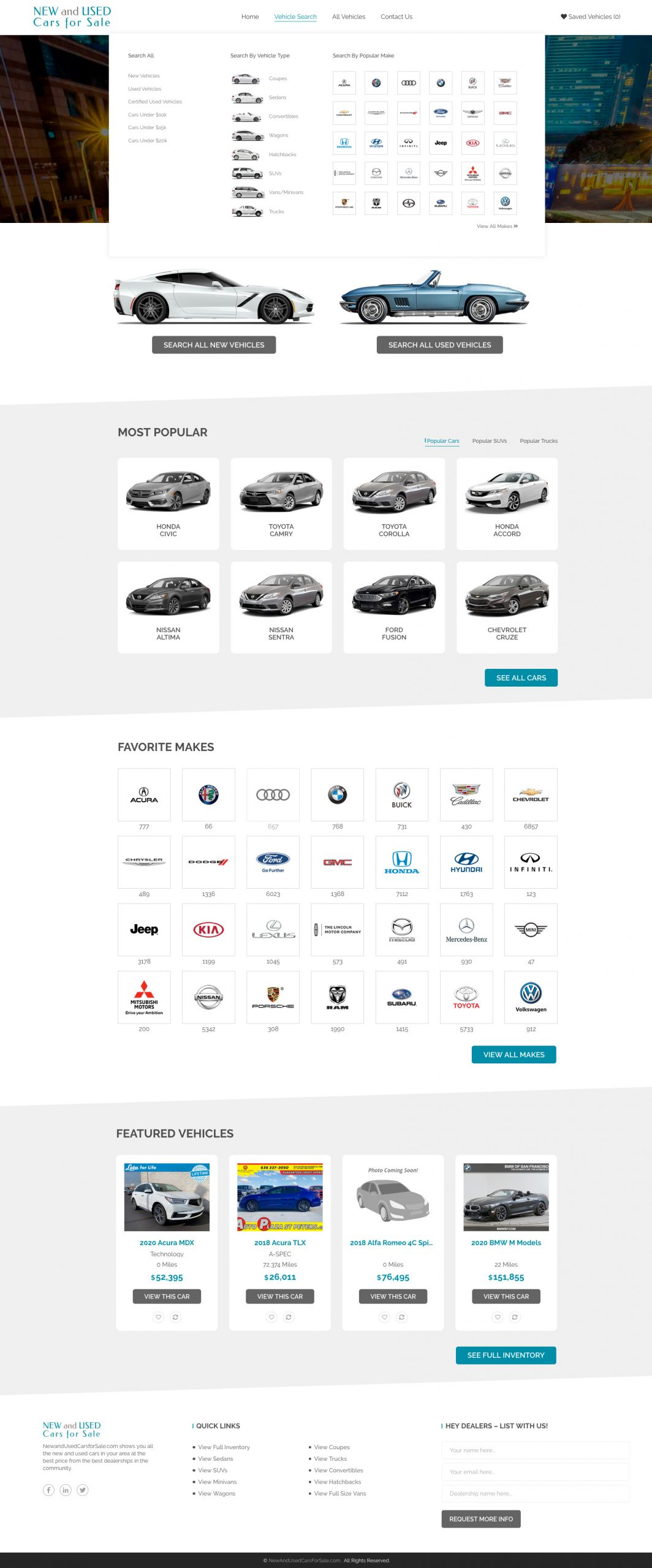 Home page showing nav dropdown for New and Used Cars for Sale