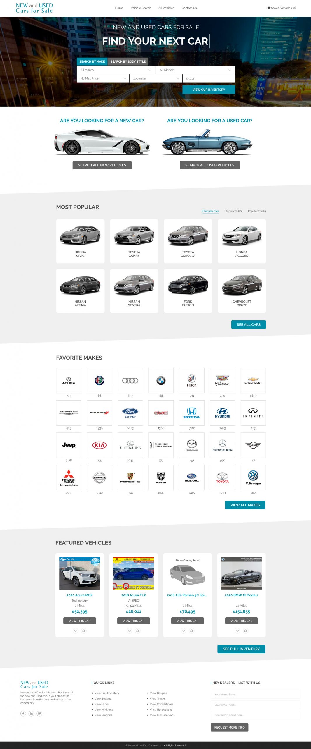 Home page for New and Used Cars for Sale