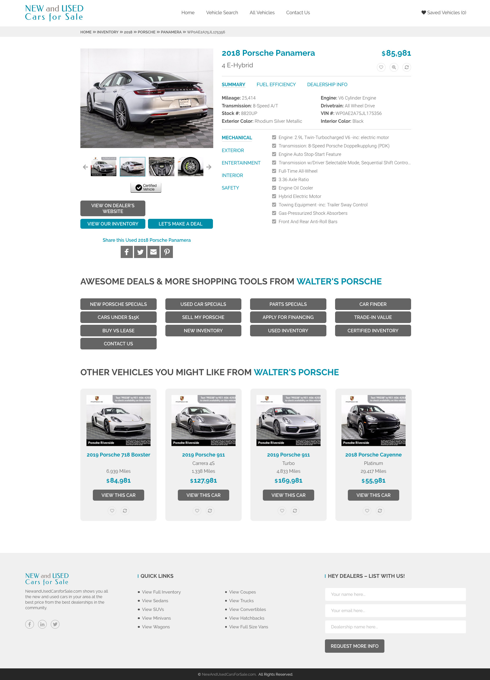 Vehicle detail page for New and Used Cars for Sale