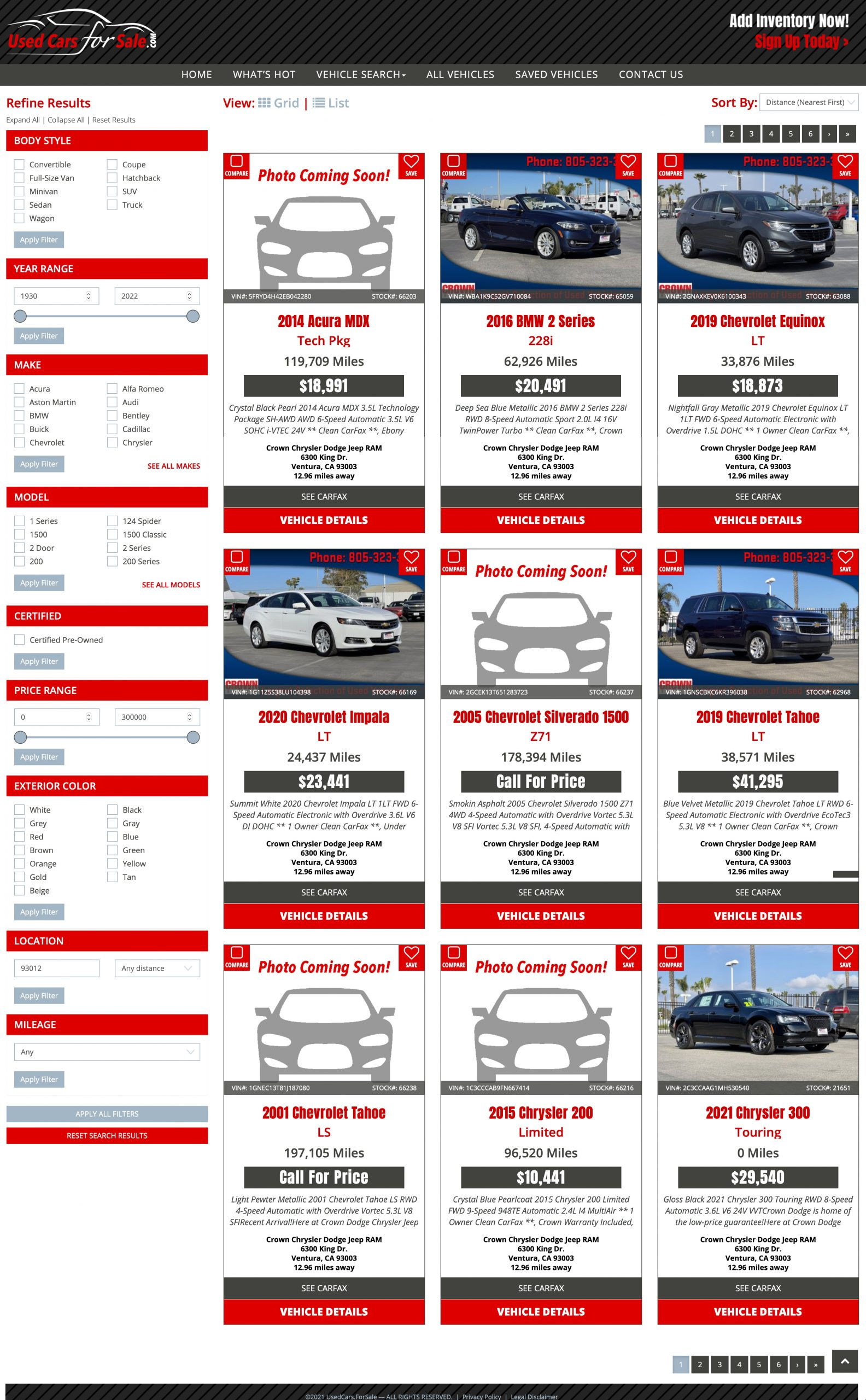 Inventory page for Used Cars for Sale, Inc.