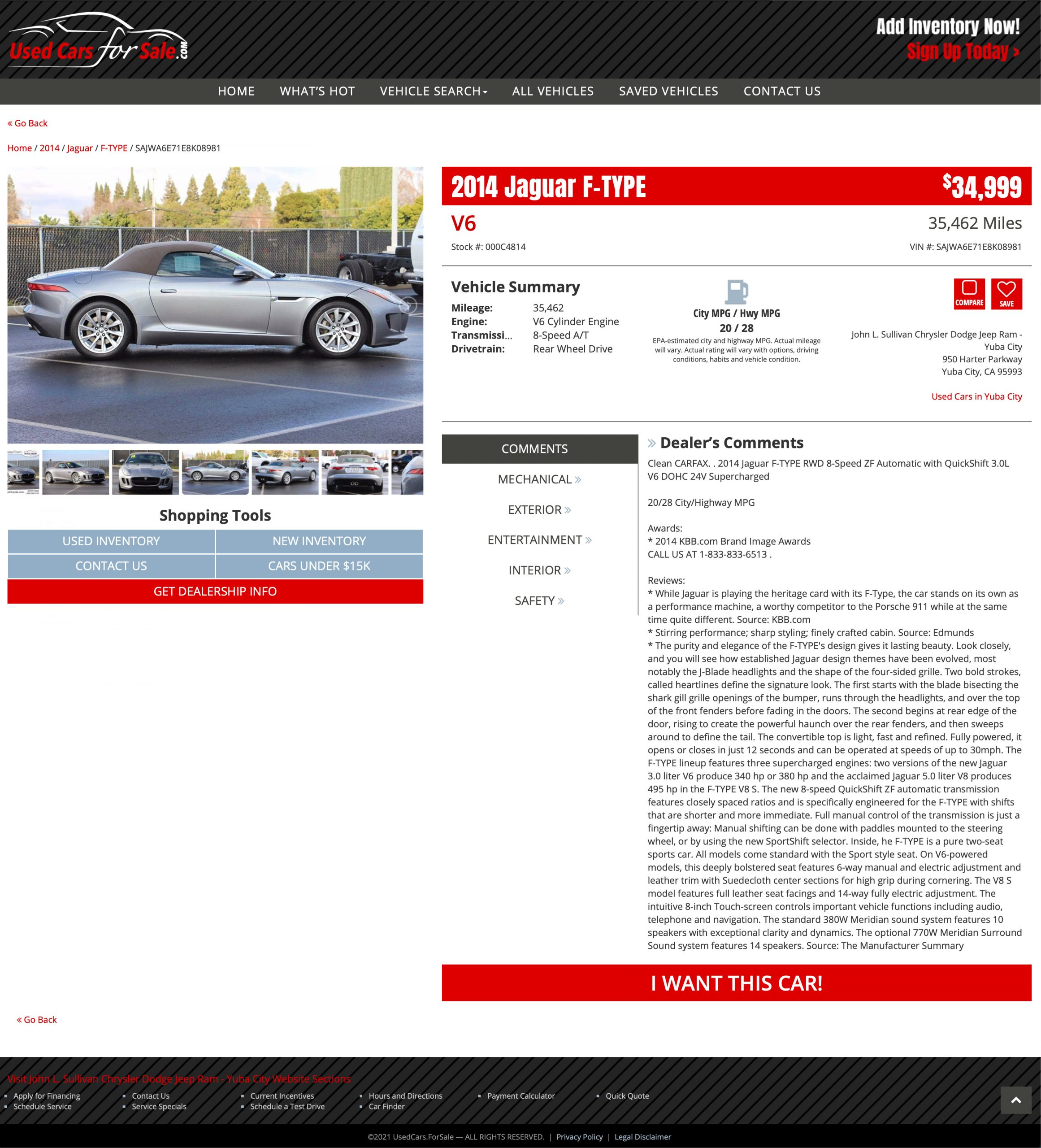 Vehicle Detail page for Used Cars for Sale, Inc.