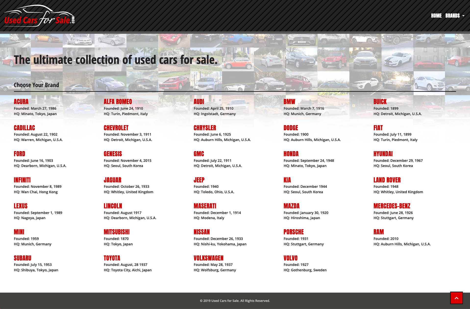 Home page for Used Cars for Sale