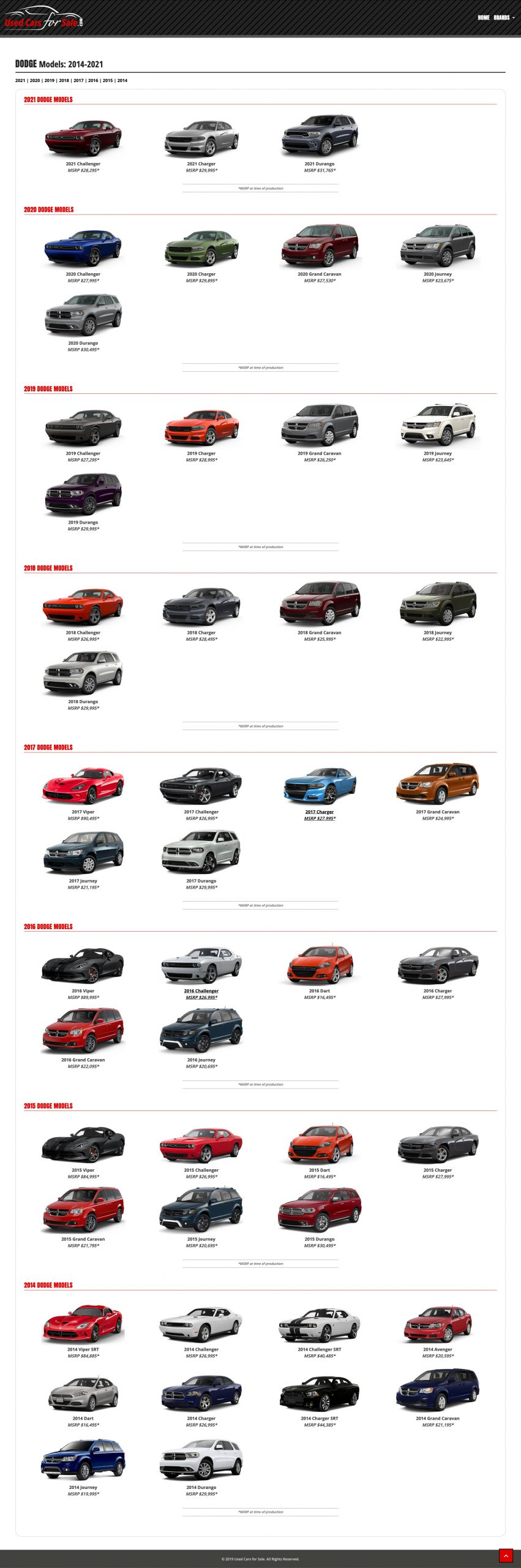 All models page for Used Cars for Sale